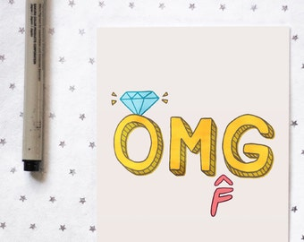 Funny Engagement Card for Best Friend Sister Cousin | OMFG Ring | Funny Wedding Card for Bride | Congrats | Bridal Shower Card for Her