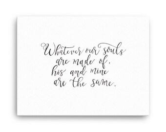 Same Souls hand lettered on canvas