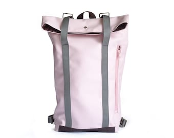 Faux pink leather and chocolate leather backpack