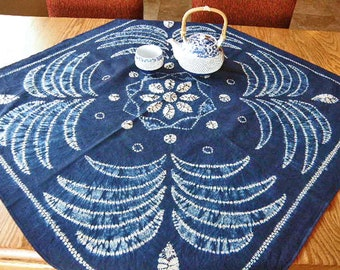 Vintage Japanese Shibori Tablecloth U2013 Hand Dyed Blue And White Wallhanging  U2013 Indigo Shibori Cotton U2013 Japanese Wall Art U2013 Kitchen Décor