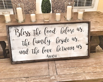 Farmhouse Kitchen Sign Bless this Food Before us the Family Beside us and the Love Between us Amen