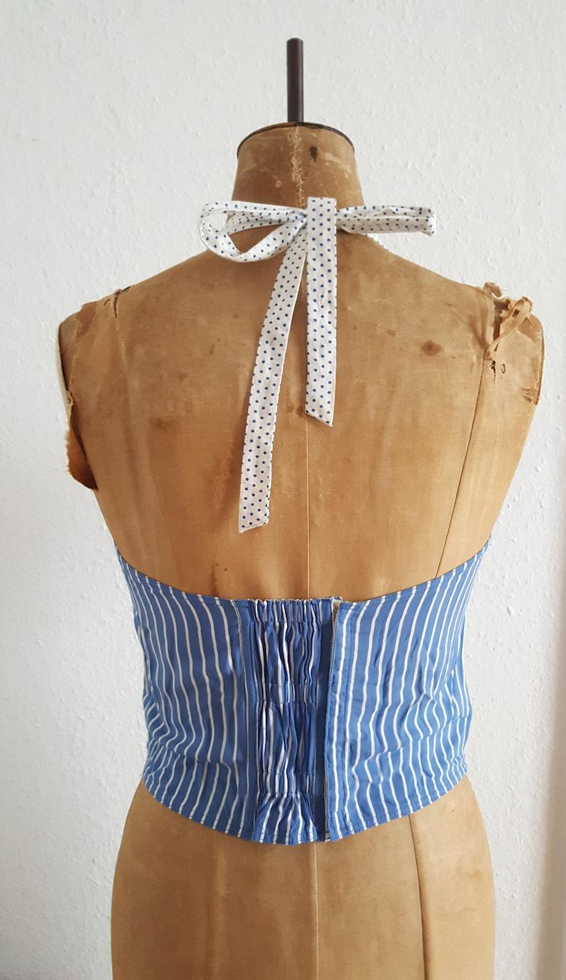 1950s vintage sun top halter neck top  50s striped top bustier top vintage bullet bra corset boned top
