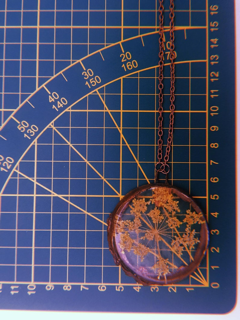Queen Anne/'s Lace dried flower resin copper electroformed pendant