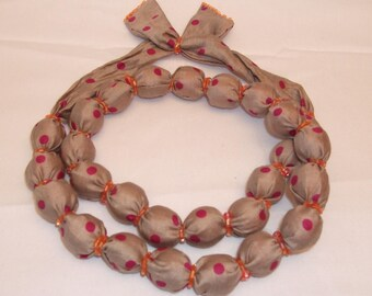 Taupe fabric necklace