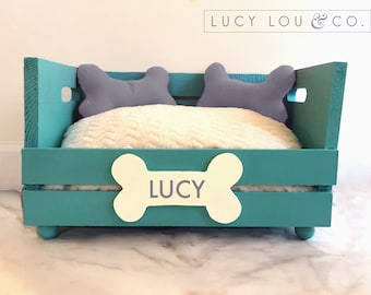 9c57f058fd24 Custom Personalized Dog Bed Teal Turquoise and White and Gray with  Hand-Made Pillows and Fluffy Pet Cushion