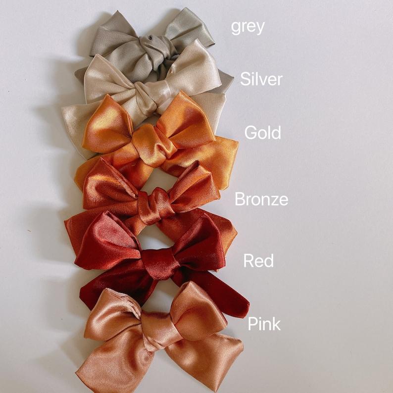 Small satin bow hair clip handmade