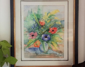 "Watercolor: ""Bouquet with anemones"""