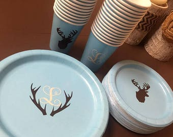 Baby Shower Deer Antler Plates, Cups, Napkins. (Custom Letters & Colors) (Boy or Girl) PLEASE READ DETAILS