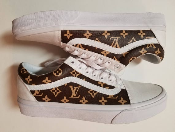 White Custom Louis Vuitton Old Skool Vans
