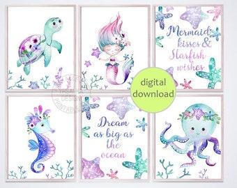 seahorse Girl nursery decor ocean sea animals Digital download Sea turtle Under the sea art octopus penguin Baby girl prints