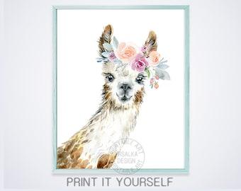 Watercolor llama   Etsy