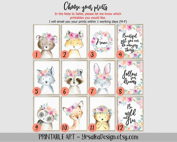 Wild Woodland Animals Nursery Prints for Boho Girl Room Watercolor Painting Set Forest Baby Animals Portrait Floral Printable Kids Room Art