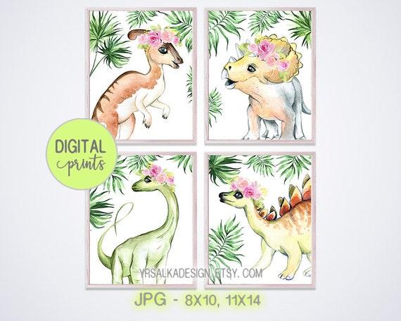 Nursery wall art, Dinosaurs prints, Tropical Baby dino girl decor, Pink Blush floral, Crown animal prints, 5x7 8x10 11x14 Printable art