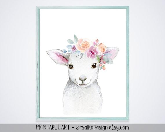 Baby Lamb Print Farm Animal Girl Nursery Decor Floral
