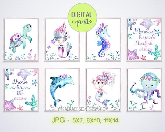 Mermaid Nursery Decor, Mermaid Wall Art, Dolphin Print, Seahorse Art, Watercolor prints, Nautical Girl Room, Under the sea, Printable set 8