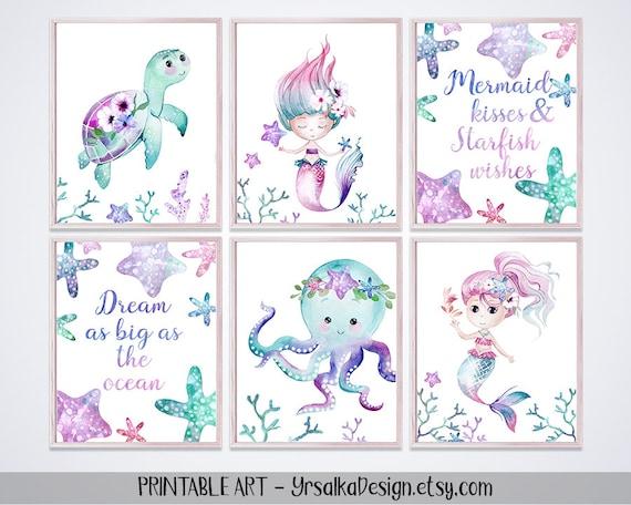 Mermaid Nursery Decor Under The Sea Girl Room Wall Art Watercolor Sea Animals Starfish Turtle Octopus Nautical Ocean Nursery Print set 6