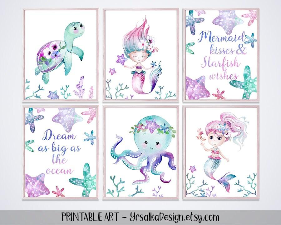 Mermaid Nursery Decor Under The Sea Girl Room Wall Art | Etsy