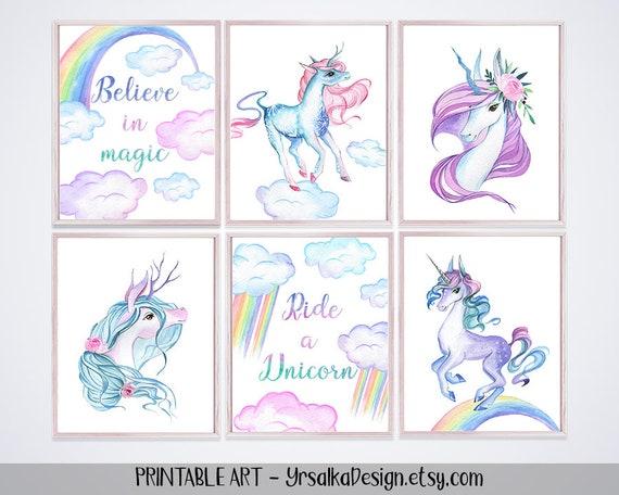 Unicorn Nursery Decor Rainbow Girl Room Wall Art Watercolor Unicorn Pastel Nursery Print Set 6 1st birthday Baby Shower Printable Toddler