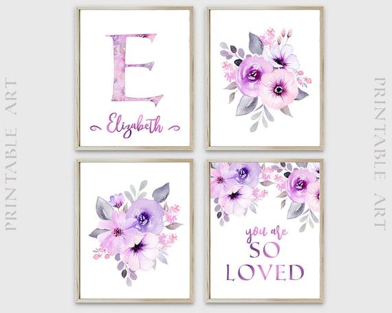 Pink Lilac Nursery Print, Floral Printable Nursery Art, You are loved print, Nursery Wall Decor, Girls Room Decor, Nursery Name Art, DIGITAL