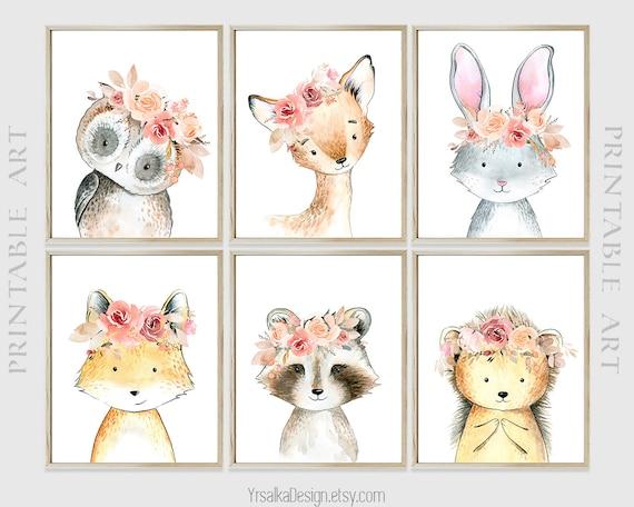 Woodland Animals Boho Nursery Decor Girl Printable Forest Animal Art Floral Print Fox Bunny Deer Owl Wall Art Set 6 Instant Download
