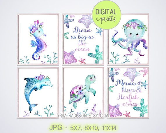Ocean nursery decor, Under the sea, Nursery Wall Art, Nautical Girl Room, Sea Animal prints, Watercolor Seahorse Dolphin, Print set 6