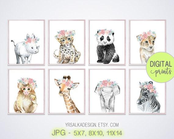 Nursery wall decor, Crown animal prints, floral safari art, Digital print set 8, watercolor prints, 5x7 8x10 11x14 Printable