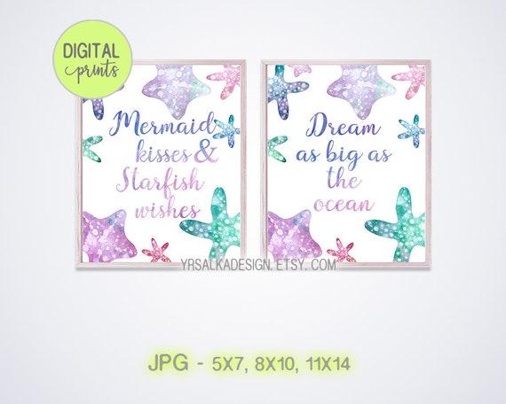 Baby girl ocean wall decor, Mermaid theme, Nursery quotes, Saying wall art, Set of 2 Digital Prints, Watercolor Baby Room, Wording