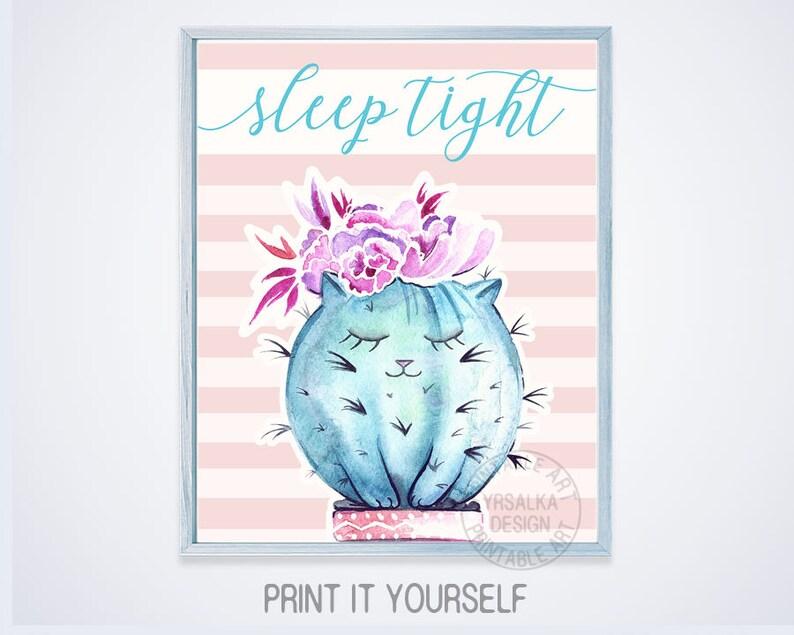 Girl Nursery Bedroom Decor Sleep Tight Sign Print Mint Teal Turquoise Pink  Girl Cat Wall Art Floral Crown Cat Watercolor PRINTABLE digital