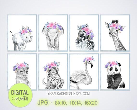 Safari animals, Crown animal prints, Safari girl decor, Digital print set 8, Watercolor baby animals, 8x10 11x14 16x20, Printable art