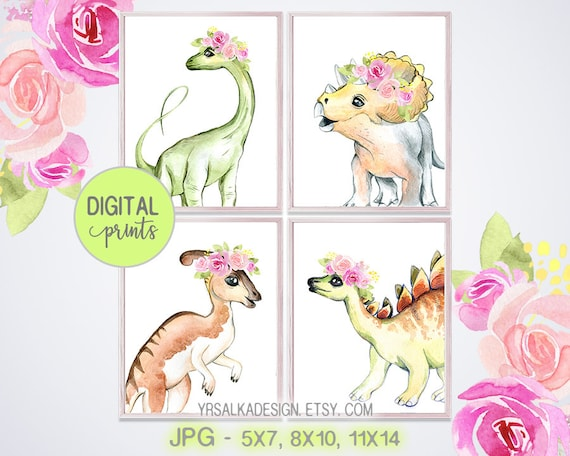 Nursery wall art, Dinosaurs prints, Baby dino girl decor, Pink Blush floral, Crown animal prints, 5x7 8x10 11x14 Printable art