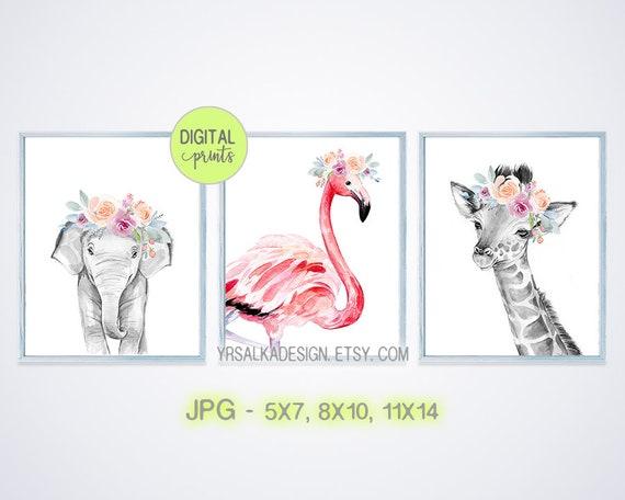 Safari Animals, Nursery Wall Art, Jungle Animals, Floral Crown Giraffe, Black White Elephant, PRINTABLE Wall Art, Watercolor prints set of 3