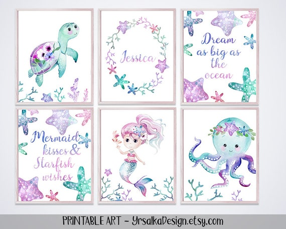 graphic regarding Ocean Animals Printable named PRINTABLE Mermaid and Ocean Pets Decor for Woman Teal Turquoise Purple Nautical Nursery Youngster Reputation Artwork Print Below The Sea Wall Decor Preset 6