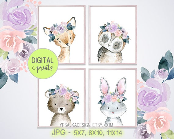Woodland Creatures, Floral Animals, Nursery Wall art, Forest Friends art, Watercolor Prints 5x7 8x10 11x14 Instant download