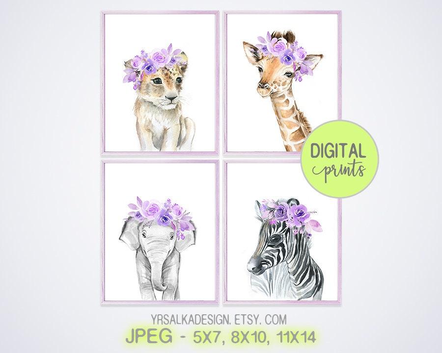 Nursery animals print set 4, Purple lilac flowers, Safari animals, Baby girl gift, Baby shower gift, Nursery decor, Nursery wall art