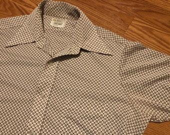 Vtg 70s Cropped PENN-PREST Button-upDress SHIRT M