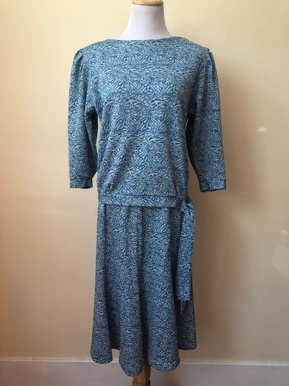 80s-does-50s Knitwear Skirt & Top Set || Small
