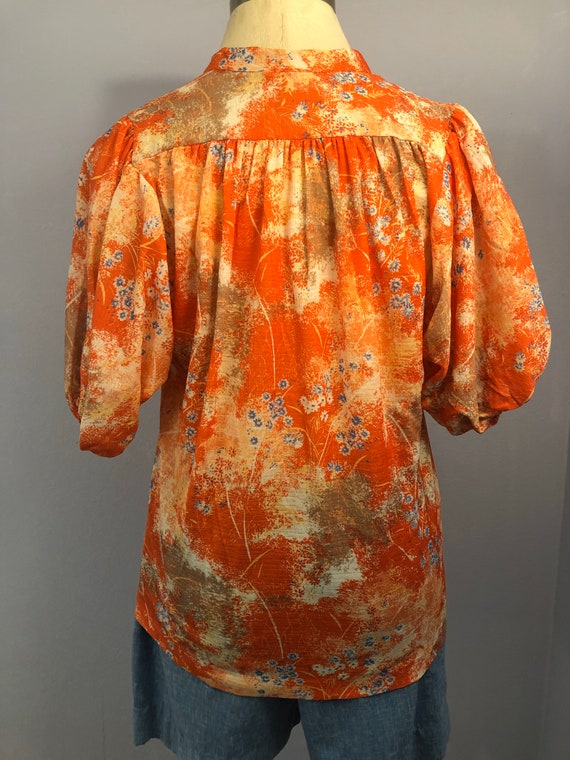 1970s Psychedelic Lightweight Stretchy Navy Blue Floral Blouse Small Medium S M