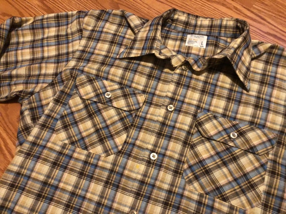 Vintage Permanent Press Check Work Shirt || Large