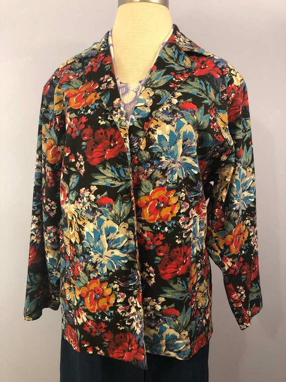 1980's Floral Denim Blazer || Made in USA || Overs