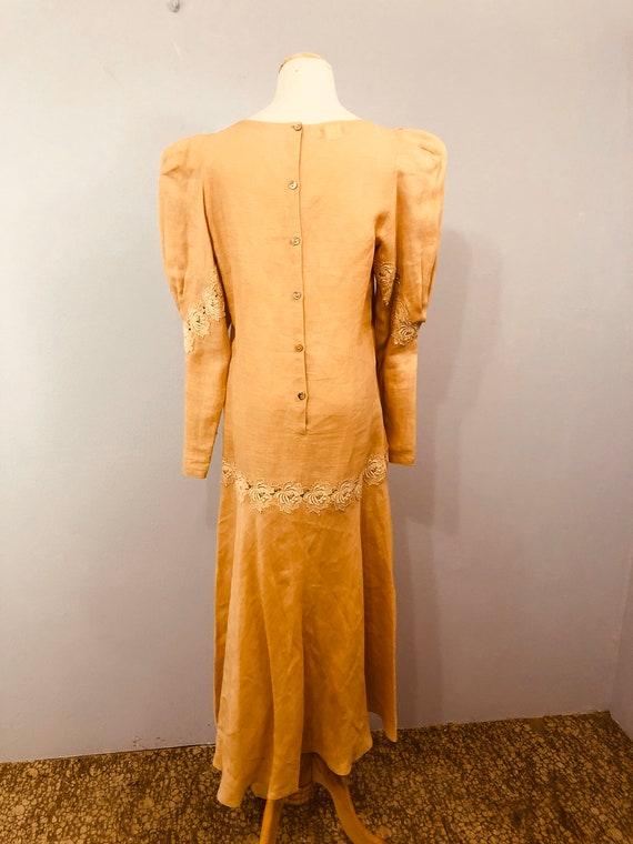 Pink Linen Drop Waist Dress with 20's Flair || Ga… - image 4