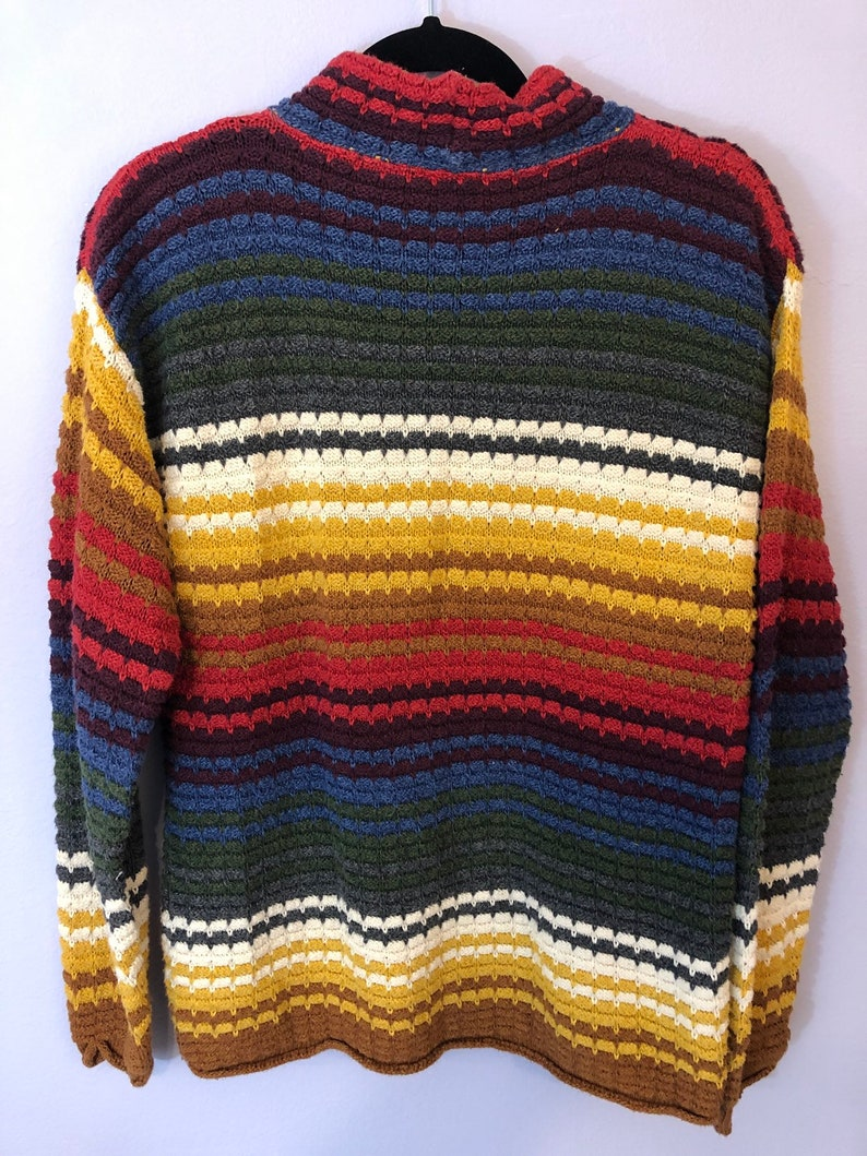 Sustainable Clothing 90s Style Vintage Rainbow Sweater 1990s Oversized Rainbow Sweater