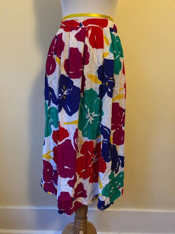1990s Jenny Garcia Tropical Floral Print Skirt ||