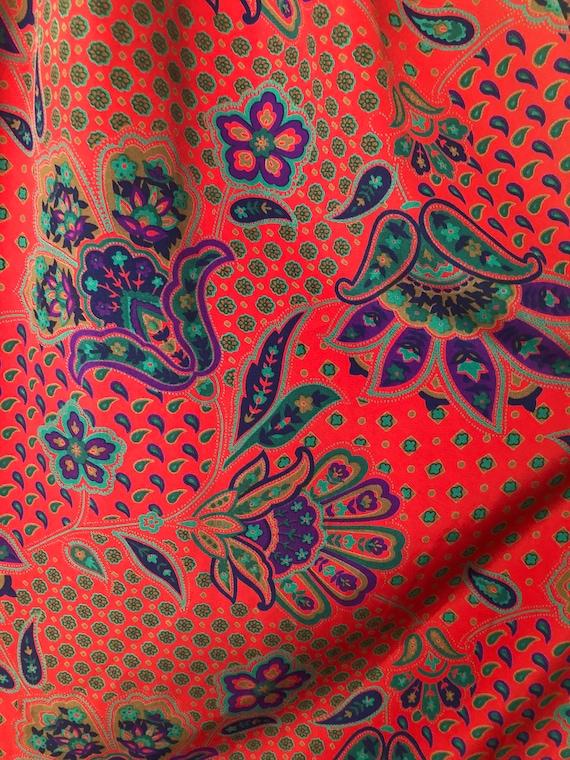 Vintage Paisley Silky Skirt || Size 12 / Large ||… - image 3