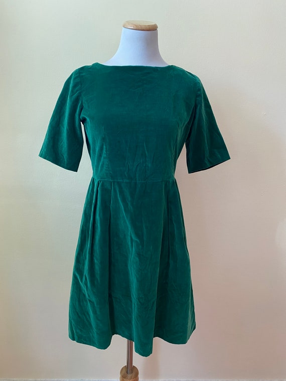 1960's Green Velvet Cocktail Mini Dress || XS || M