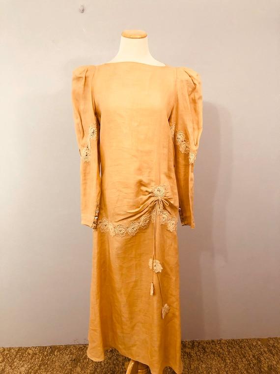 Pink Linen Drop Waist Dress with 20's Flair || Ga… - image 1