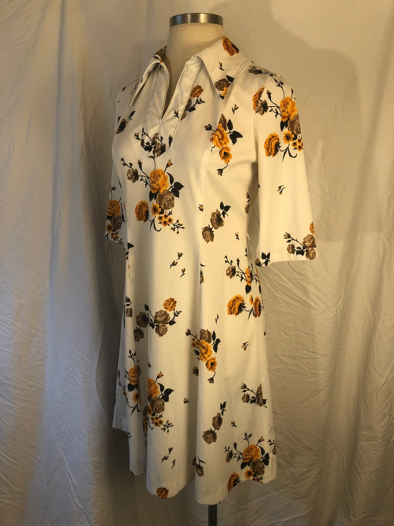 Vintage Sears Med to Large Floral 70/'s Western Shirt Dress \u2014 Zipper Means You Control The Cleavage Yellow Roses Scooter Dress