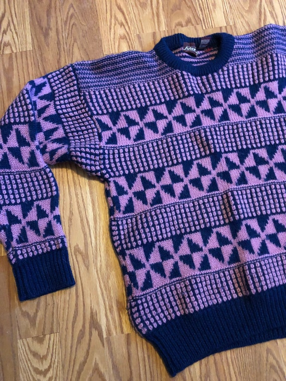 Vintage Geometric Worsted Wool Knit Sweater || Med