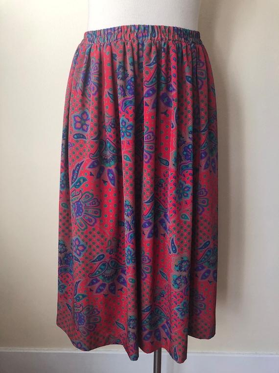 Vintage Paisley Silky Skirt || Size 12 / Large ||… - image 1