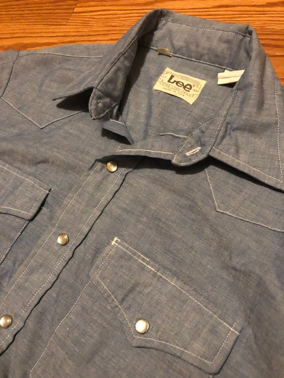 Vintage Lee Western Chambray || Large || 1970s Wor