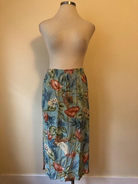 80s Tropical Summer Skirt    Medium